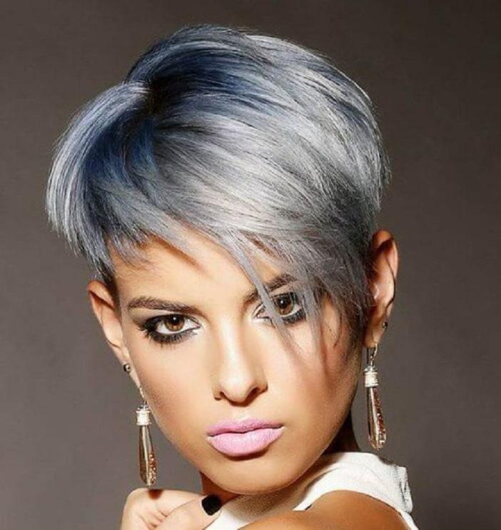 grau haarfarben fuer frisuren kurz 2018